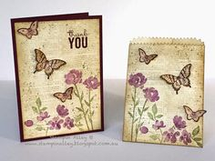 Stampin Alley - Vintage Painted Petals using Stampin Up Dictionary, Painted Petals and Papillion Potpourri stamp sets and Butterfly punches.