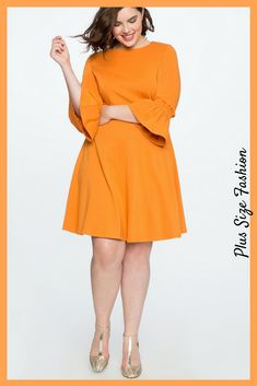 Orange Smocked Sleeve Fit and Flare Dress. Great spring look! #plussize #ad