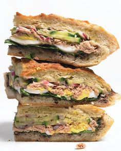Tuna Nicoise Sandwich Recipe -- reinvent the tuna typical sandwich with this hearty make-ahead