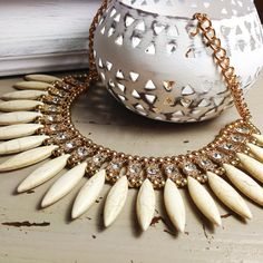 Gold & Crystal Statement  Necklace by CollectionsbyHayley on Etsy