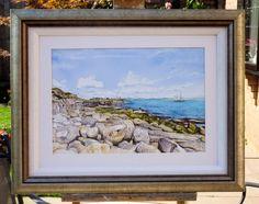 Ketch Off Red Crane, Portland Bill - Roger Turner Art Artist. Watercolor Paper, Watercolor Paintings, Cliff Edge, Dorset England, Guache, Crane, Portland, Old Things, The Originals