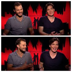 That's a lot of pretty in one place. Jamie Dornan & Cillian Murphy, Anthropoid press tour.