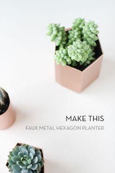 Make It: DIY Metallic Geometric Planters in 5 Minutes