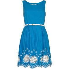 Yumi Scalloped Hem Embroidery Skater Dress ($32) ❤ liked on Polyvore featuring dresses, short dresses, blue, clearance, cotton summer dresses, blue midi dress, midi dress, blue mini dress and skater dress