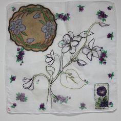 Viola Handkerchief Textiles and found materials £200 on 39cm square watercolour paper casholmestextiles