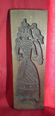 Antique Dutch Cookie Press Speculaas Mold Carved Wood Beautiful Lady With Bird