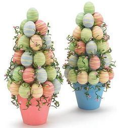 Easy DIY Potted Foam Egg Topiary Tree Easter craft idea for kids. The Best Easy DIY Dollar Store Easter Decoration Ideas. Easter Tree, Easter Wreaths, Easter Eggs, Easter Bunny, Spring Wreaths, Easter Projects, Easter Crafts For Kids, Easter Ideas, Bunny Crafts