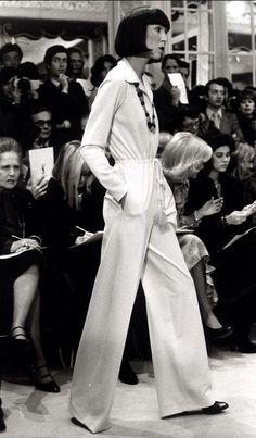 1973 - Yves Saint Laurent show - Anna Pawlowski in Ivory silk-jersey jumpsuit