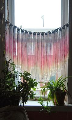 handmade macrame window hangings, blogged at moon to moon