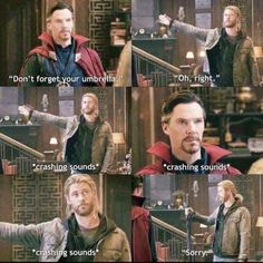 Thor, Ragnorak, Chris Hemsworth, Benedict Cumberbatch hahah the awkwardness Avengers Humor, Funny Marvel Memes, Dc Memes, Marvel Jokes, Meme Comics, Meme Meme, Thor Jokes, Movie Memes, Memes Humor