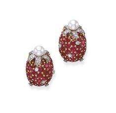 A PAIR OF PINK SAPPHIRE, DIAMOND AND CULTURED PEARL EAR CLIPS, BY TIFFANY & CO., JEAN SCHLUMBERGER