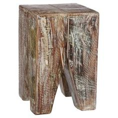 "Reclaimed wood end table crafted by artisans in India.       Product: End table    Construction Material: Reclaimed wood    Color: Natural   Features:  Crafted by artisans in India    Unique decoration for your home, garage or patio  Dimension: 20"" H x 13"" W x 13"" D"