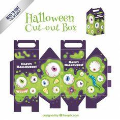 Halloween Cut-Out Box, eyeballs in green slime on purple Origami Halloween, Diy Halloween, Halloween Imagem, Halloween Mono, Halloween Cut Outs, Halloween Templates, Halloween Patterns, Halloween Fashion, Halloween Trick Or Treat