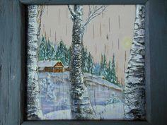 картина на бересте Зима