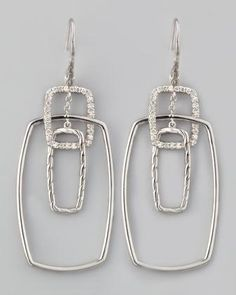 John Hardy Classic Chain Rectangular Linked Diamond Drop Earrings - Neiman Marcus