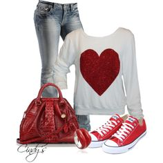 """simple, casual and cute """"Wildfox Red Sparkle Heart Top"""""""