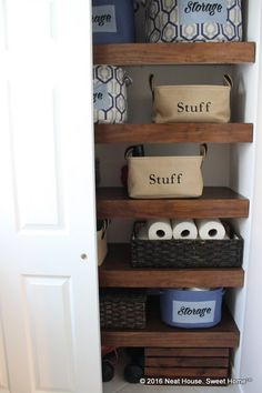 Wood Covers for Wire Shelving Goodbye ugly wire shelving. Give your closet a custom-built look with these DIY wood covers. Give your closet a custom-built look with these DIY wood covers. Wire Shelving, Wood Shelves, Shelving Ideas, Wire Pantry Shelves, Kitchen Shelves, Kitchen Storage, Kitchen Cabinets, Linen Closet Organization, Organization Ideas