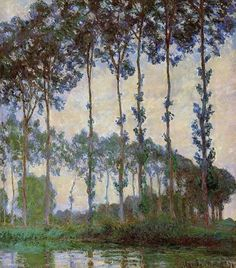 """https://www.facebook.com/Claude.Monet.MiaFeigelson.Gallery  """"Poplars on the epte, overcast weather"""" (1891) By Claude Monet, from Paris (1840 - 1926) - oil on canvas; 91 x 81 cm - [Impressionism] Place of creation: near Giverny, France [Giverny is located 75 km west from Paris] Private Collection"""