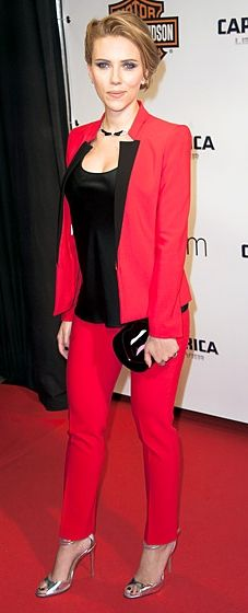 Scarlett Johansson opts for a red and black jumspuit by Michael Kors for the 'Captain America: Winter Soldier' premiere