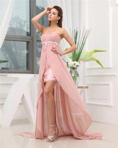 97ac346168e Strapless Zipper Sleeveless Beading Ruffle Asymmetrical High Low Chiffon  Charmeuse Woman Prom Dress