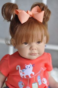 ~REBORN~Adorable~*Baby Girl~**~Aurburn Human Hair Dark Blue Eyes~Chloe~adorable little red head! Reborn Child, Reborn Toddler Girl, Child Doll, Reborn Baby Dolls, Real Baby Dolls, Realistic Baby Dolls, Red Hair Looks, Dark Blue Eyes, Wiedergeborene Babys