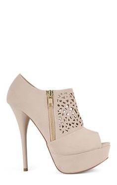 Peep Toe Platform Bootie with Perforated Upper and Side Zipper from Deb Shops