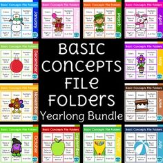 This growing bundle of Basic Concepts File Folders covers 10 different basic skills your special education students should be practicing every day!  Each concept has 2 levels for a total of 20 file folder activities each month.  By the end of the year, you will have over 250 differentiated and themed file folders!This bundle is perfect for independent work stations, morning work, warm-ups, direct instruction and task boxes.