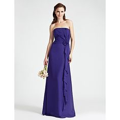 Sheath/Column Strapless Floor-length Chiffon Over Elastic Woven Satin Bridesmaid Dress  – USD $ 129.99