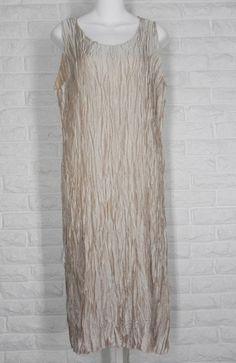 LEE ANDERSEN Crushed Dress Tea Length Crinkle Holiday Wedding Sand NWT L #LeeAndersen #TeaDress #Formal