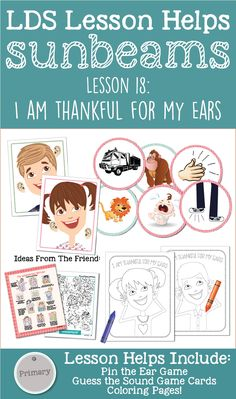 "Sunbeams Lesson 18: ""I Am Thankful for My Ears"" Lesson Helps on LovePrayTeach.com including coloring pages, activity ideas, teaching tips and more!"