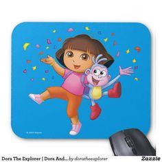 Dora The Explorer | Dora And Boots Celebrate. Producto disponible en tienda Zazzle. Tecnología. Product available in Zazzle store. Technology. Regalos, Gifts. #Mousepads