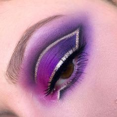Purple and silver eye makeup
