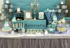 Tiffany themed dessert table | The Candy Brigade | Candy Buffets | Sweet Sixteen Parties | Tiffany & Co.