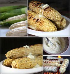 Japanese Influence: Grilled Corn, Soy Mirin Glaze, Wasabi Goat Butter