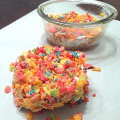 Single Serving Fruity Pebbles Marshmallow Treat: I've seen those huge marshmallows and now they have a purpose!!!