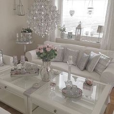Grey and pink living room inspiration white and silver living room living room decor gold silver . White And Silver Bedroom, Silver Living Room, Glam Living Room, Living Room Interior, Home And Living, Living Room Decor, Bedroom Decor, Living Rooms, Bedroom Ideas
