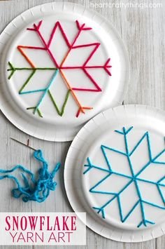 winter kids crafts This paper plate snowflake yarn art is a perfect activity for the winter months and is great for beginning sewing and fine motor skills. Fun winter kids craft, sewing craft for kids, paper plate crafts and winter activity for kids.