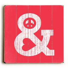 Peace And Love by Artist Budi Satria Wood Sign - etriggerz.com