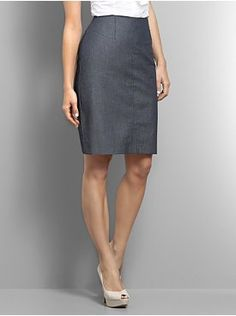 Denim pencil skirt worn for workday with nude peep-toe shoes. Arbetskläder 3875d71e255c3