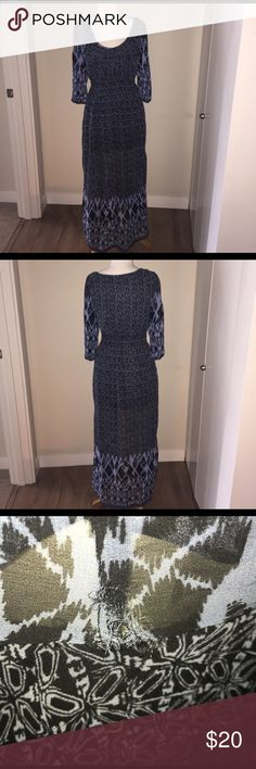 Angie Blue and Black Maxi Dress - M Long sheer Maxi with a lining up to just above the knee. Has been worn, has a small hole in left armpit see image 3. Angie Dresses Maxi
