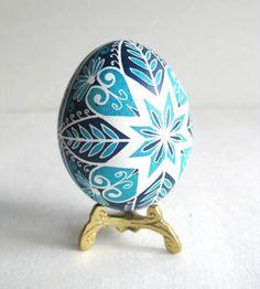 Blue Pysanka, batik egg on chicken egg shell, Ukrainian Easter egg, hand painted egg. $22.95, via Etsy.