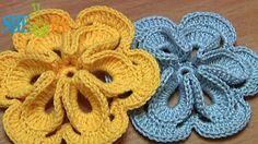 Crochet Flower with Six Petals and 3D Center How To Tutorial 30 - Sheru Studio