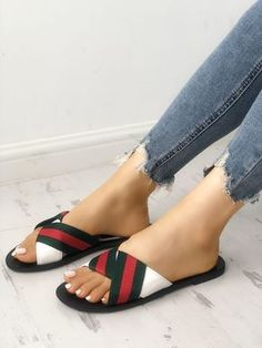 Contrast Striped Non-Slip Flat Slippers Birkenstock Sandals Outfit, Shoes Flats Sandals, Leather Sandals, Leather Slippers, Mens Fashion Shoes, Fashion Sandals, How To Tie Shoes, Fashion Slippers, Only Shoes