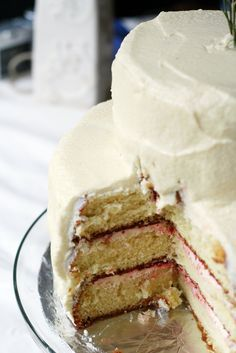 white cake with strawberry filling and strawberry-vanilla ...