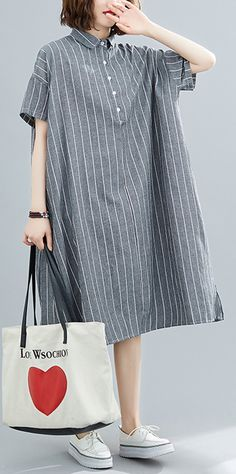 DIY striped Cotton quilting clothes lapel collar Plus Size summer Dresses Plus Size Summer Dresses, Long Summer Dresses, Casual Summer Outfits, Casual Dresses For Women, Hijab Fashion Summer, Dresser, Summer Blouses, Diy Dress, Revers
