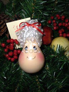 Hand Painted Light Bulb Mrs. Claus/Christmas by TreasuresToShare