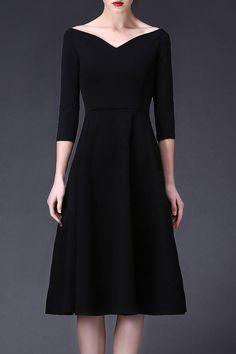 Cys Black A Line Waisted Midi Dress | Midi Dresses at DEZZAL