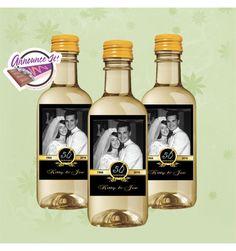 50th Anniversary Mini Wine Labels  Photo Mini by AnnounceItFavors