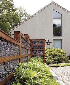 Gartenmauer Gabione bauen moderne Garten Gestaltung