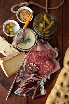 Resultado de imagem para A variety of cured meats and pâtés accompanied by pickles, olives, and mostarda, round out our charcuterie board Antipasto, Appetizer Recipes, Appetizers, Charcuterie And Cheese Board, Charcuterie Plate, Cheese Boards, Easy Meals For One, Meat Platter, Meat And Cheese